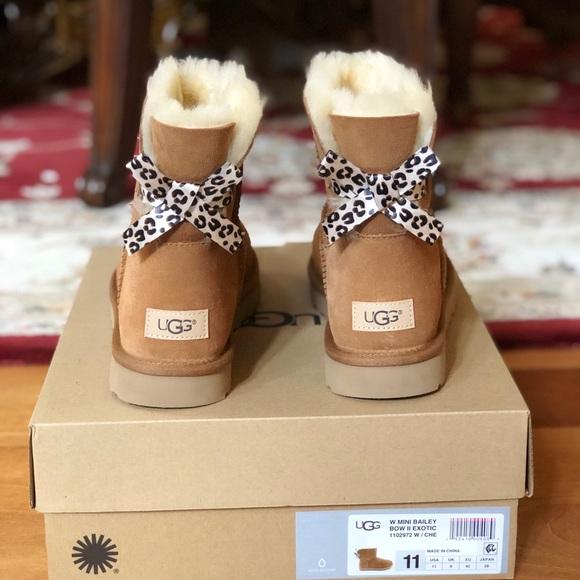 3729af5ca28 UGG Shoes | Nib W Mini Bailey Bow Ii Exotic Women Sz 11 | Poshmark